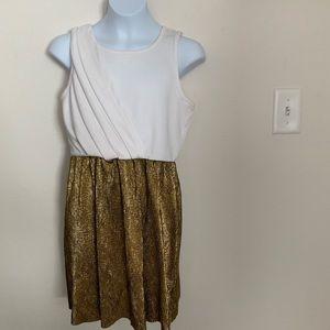 GB Girls Two- Tone Gold/White Sleeveless Dress